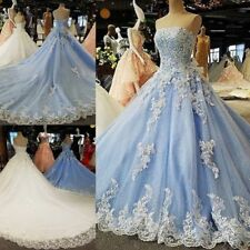 Plus Blue White Wedding Dress Bridal Gown Strapless Long Train Lace Custom Size