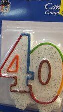 candeline 40 anni cm.8 colorate glitter compleanni  torte auguri feste e party