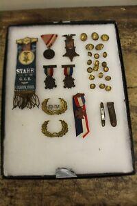 LOT OF 29 Grand Army of the Republic GAR Civil War Veteran Badge, Pins, Buttons