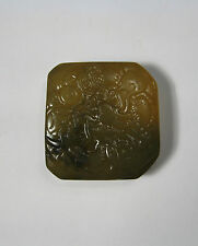 Collectable jade stone carved lucky flying dragon Chinese seal