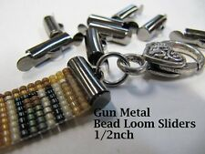 End Caps Slider Clasps, 1/2 Inch, Gun Metal Color, 8 Piece/4 Sets