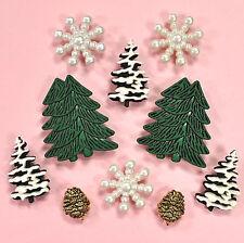 BUTTONS Galore Woodland Frost 4775-Albero di Natale Fiocchi di Neve Natale dress It Up