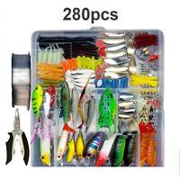 33-280pcs Set  Fishing Tackles Kit Fishing Lures Baits Crankbait Hooks Fish Tool