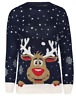 New Ladies Women's Knitted Rudolph Snow Flake Xmas Christmas Jumper Sweater Top