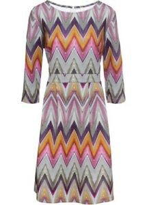 Ethno Kleid Gr. 44 46 grau lila bedruckt Minikleid Druck-Kleid 3/4 Ärmel neu