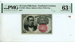 FR.1266 10 CENT FIFTH ISSUE FRACTIONAL PMG CERTIFIED  CU 63 EPQ #47