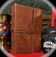 LEATHER HANDWRITTEN ~ SPELL BOOK & GENERAL AID TO MAGICK * OCCULT * NECRONOMICON