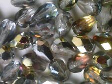 Vtg 75 METALLIC GOLD FIRE POLISHED 10X7m GLASS DROP BEADS  #122119b
