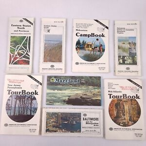 VTG Lot of 8 Road Maps Tour Books Eastern States Maryland Baltimore Delaware AAA
