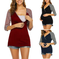 Women Pregnancy Maternity V Neck 3/4 Sleeve Blouse Splice Nursing Tops Tee Shirt