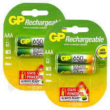 4 x GP Rechargeable AAA batteries 650mAh NiMH LR03 DX2400 Phone DTC Pack of 2