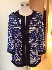 Joseph Ribkoff Jacket Size 12 Blue White Black 3/4 Sleeves Now