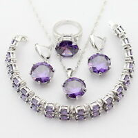 Pretty Purple Amethyst 925 Silver Necklace Pendant Earrings Ring Bracelet set
