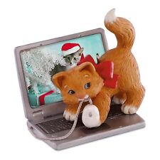 Mischievous Kittens 2016 Hallmark Ornament #18 Laptop Computer Cat Mouse Red Bow