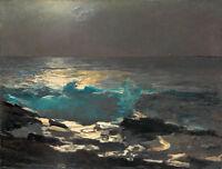 Moonlight-Wood Island Light by Winslow Homer 60cm x 45.5cm Canvas Art Print
