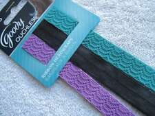3 Goody Ouchless Ribbon Headwraps Black Teal Purple Headbands Soft Fabric Lace