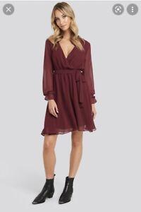 Burgundy Tie Long Sleeve Dress 40 14 Nakd Bnwt