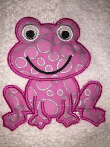 Embroidered White Bathroom Hand Towel- Appliqued Pink Spotted Frog HS0822