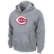 NWT Majestic Cincinnati Reds Mens Suede Tek Patch Fleece Hoodie Sweatshirt -Gray