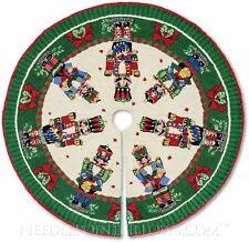 "Handmade Red Green Steinbach Nutcracker Hooked Christmas Tree Skirt. 52"""