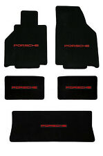 NEW! 1986-1991 Black Floor Mats Porsche 944 with Red Embroidered Logo ALL 5 Mats