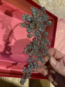 Butler And Wilson Floral Flower & Leaf Crystal Encrusted Hair Band Alice Band