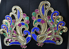 New listing 2 pcs 7 inch Peacock Applique,Turquoise, royal Blue & Gold Threadwork, Faux Gems
