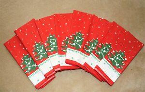 "Set of 8 Waechtersbach 12"" Christmas Tree Dinner Sz Napkins 16.5"" Square"