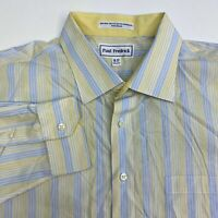 Paul Fredrick Button Up Dress Shirt Mens 18 Long Sleeve Striped Two-Ply Cotton