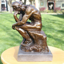 Art Deco handmade Sculpture Thinker Meditator nude Men Bronze Copper Statue