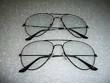 2 PAIR AVIATOR STYLE CLEAR LENS FASHION GLASSES WITH BLACK FRAME
