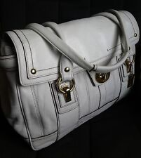 Nice Coach Hamptons Vintage Leather White Flap Satchel Purse Bag EUC