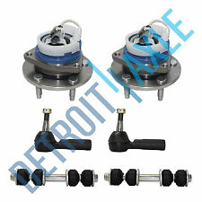 6 pc Kit 2 Front Wheel Hub and Bearing FWD w/ ABS + 2 Tie Rod + 2 Sway Bar Link