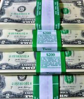 **Lot of 20 New Uncirculated Two Dollar Bills Crisp $2 Sequential Note 2017**