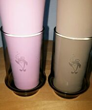 (2)STARKIST VTG 70's Charlie the Tuna Advertising Glassware etched in smoke gray