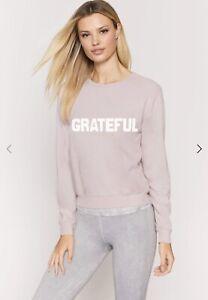 Spiritual Gangster Grateful PSAVASANA Pullover Women's size S pink NWT