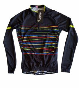 OCG  Women's Black Abstact Lines Long Sleeve Full Zip Cycling Jersey XS