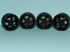 1/24 Wheel & Tyre Set Black Mags Low Profile Tyre Great for diorama or rebuilds