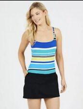 Nautica Womens Swim Dress Swimsuit Size M (8-10) Blue White Stripe Solid Black