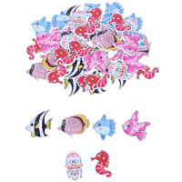 50PCs Wooden Buttons Colorful Mixed Fish Scrapbook Sewing Accessories DIY Cr Gw