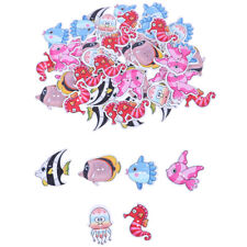 50PCs Wooden Buttons Colorful Mixed Fish Scrapbook Sewing Accessories DIY CraHC