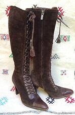 Yves Saint Laurent boots 6.5 brown suede leather lace up heels Victorian style