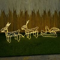 Christmas LED Light Up 2 Reindeer and Sleigh Party Garden Outdoor Decorations