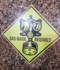 Gas Mask Required Embossed Metal Sign - Funny Joke Zombie Wall Boys Home Decor