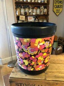 Vintage Black Plastic Wastepaper Bin / Basket – Colourful Psychedelic Flowers