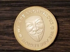 Anonymous Anon 24K Gold plated Coin Guy Fawkes mask Legion Expect us medallion