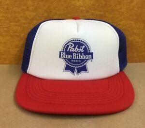 Pabst Blue Ribbon Beer Vintage 80's Flat Bill Trucker Hat Snapback w/surprise