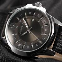AgentX Luxury Men's Sport Stainless Steel Quartz Analog Date Leather Wrist Watch