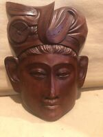 Hand Carved Wooden Asian Balinese Woman Wall Plaque Mask