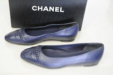 NEW CHANEL Navy Blue Leather CLASSIC Chain CC Logo BALLERINA FLATS Shoes 39